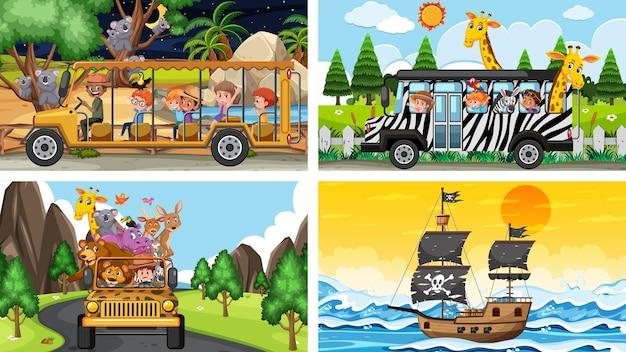 Ensemble de scènes différentes avec des animaux dans le zoo et un bateau pirate en mer