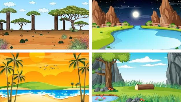 Ensemble de scènes différentes du parc naturel et de la forêt