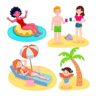 Ensemble de scènes d'été de dessin animé