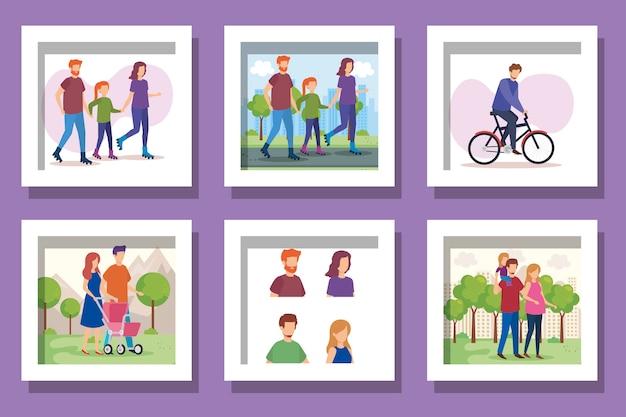 Ensemble de scènes de famille de membres