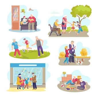Ensemble de scènes de grands-parents avec enfants