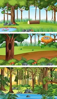 Ensemble de scènes horizontales de nature différente