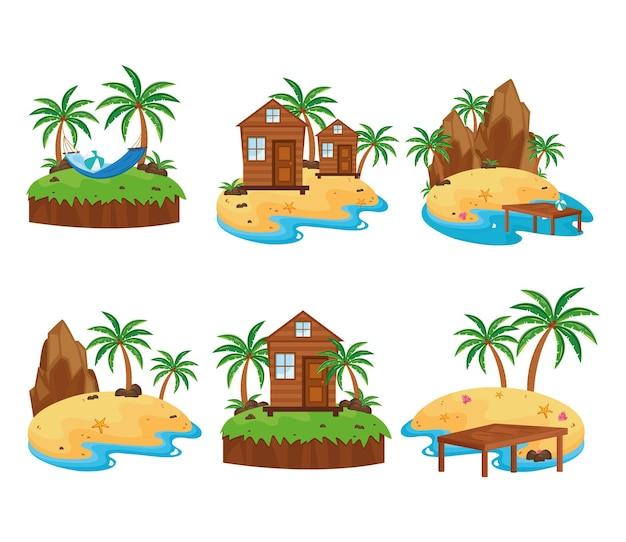 Ensemble de scènes d & # 39; îles