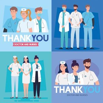 Ensemble de scènes, merci médecin et infirmières travaillant dans les hôpitaux, luttant contre la conception d'illustration du coronavirus covid 19