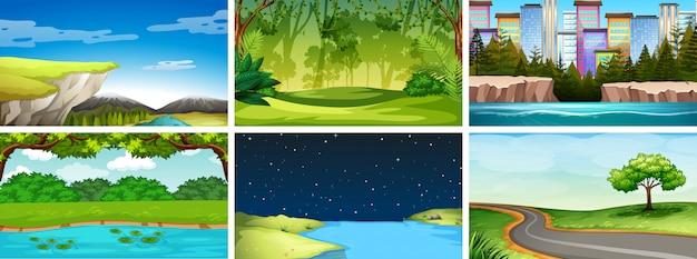 Ensemble de scènes de nature de jour et de nuit