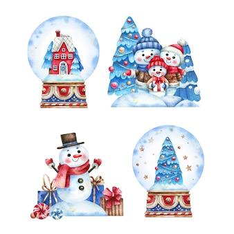 Ensemble de scènes de noël enneigées et de boules de neige