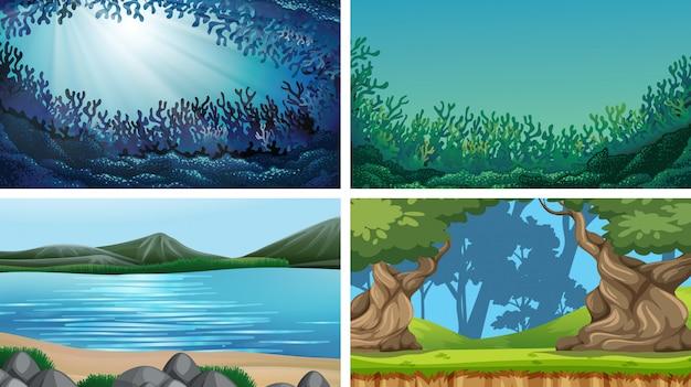 Ensemble de scènes en pleine nature