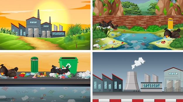 Ensemble de scènes polluées