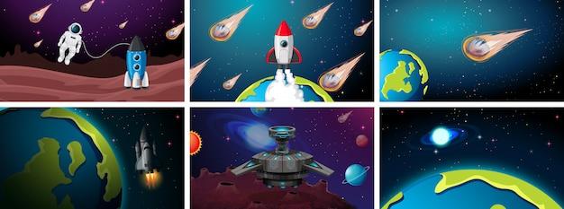 Ensemble de scènes de terre, de fusée et d'astéroïdes