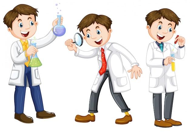 Un ensemble de scientifique sur fond blanc