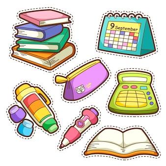 Ensemble scolaire. ensemble de différents articles scolaires, illustration.