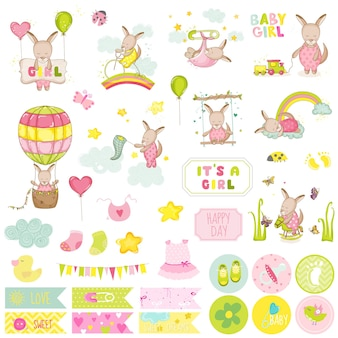 Ensemble de scrapbooking kangourou bébé fille. scrapbooking, éléments décoratifs, tags, étiquettes, autocollants, notes