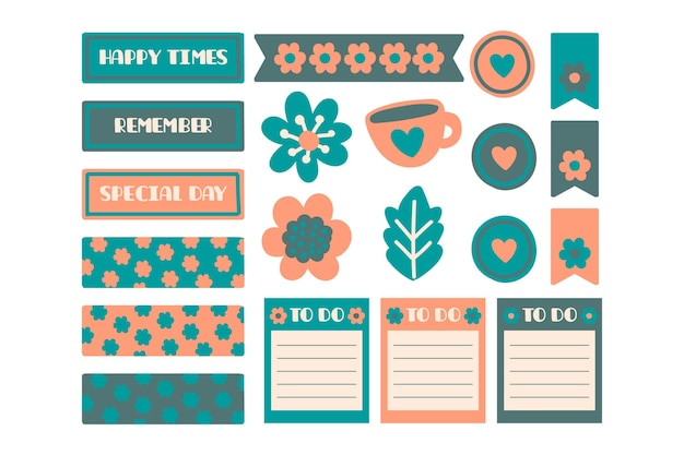 Ensemble De Scrapbooking Planificateur Vecteur gratuit