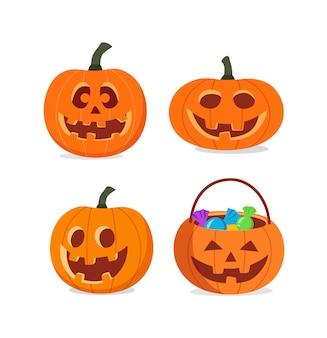 Ensemble de sculpture de citrouilles smile jack pour halloween