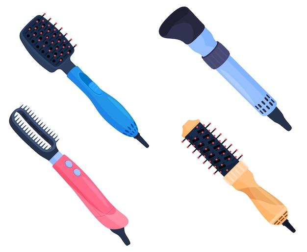 Un ensemble de sèche-cheveux de différentes couleurs, avec différents accessoires, soins capillaires. illustration colorée dans un style cartoon plat.