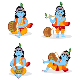 Ensemble de seigneur krishna posses différent personnage illustration, heureux krishna janmashtami