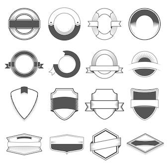 Ensemble de seize badges, logos, bordures, rubans, emblème, timbre et objets. monochrome