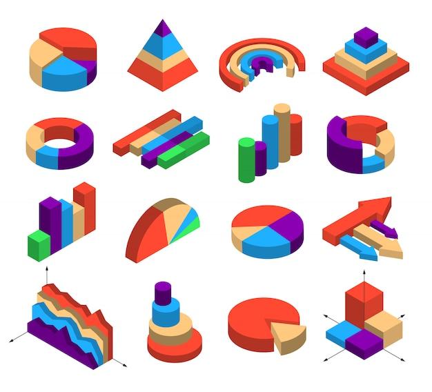 Ensemble de seize éléments de diagramme isométrique