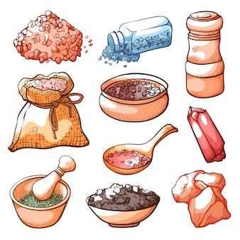 Ensemble de sel et d'ingrédients naturels dessinés à la main