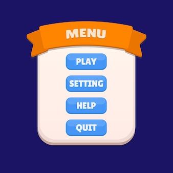 Ensemble de sélection de menu de jeu pour rpg et jeu d'aventure, y compris le menu et les options