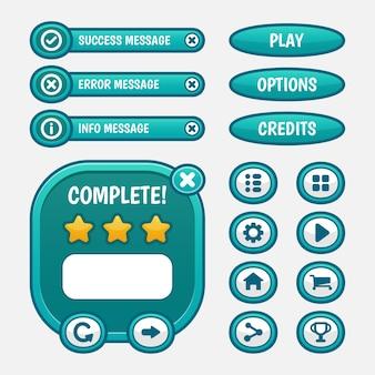 Ensemble de sélection de menu de jeu pour rpg et jeu d'aventure, y compris le menu, la sélection de niveau et les options.