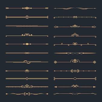 Ensemble de séparateurs ornementaux calligraphiques