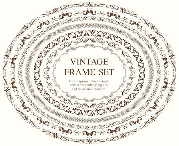 Ensemble de sept cadres vintage ovales isolés sur un fond uni. illustration.