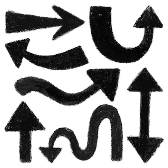 Ensemble de sept formes de flèches noires. peint à la main avec des crayons pastel à l'huile, isolés sur blanc. illustration vectorielle de haute qualité.