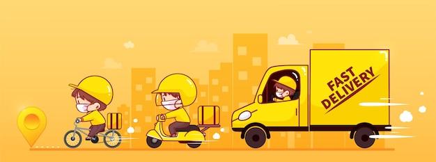Ensemble de service de livraison en ligne