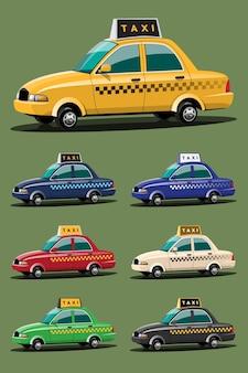 Ensemble de service de voiture de taxi