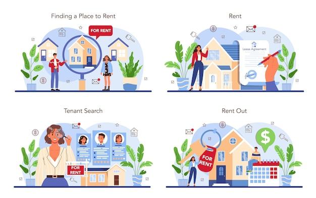 Ensemble de services d'agence immobilière. un agent immobilier ou un courtier qualifié aide le client