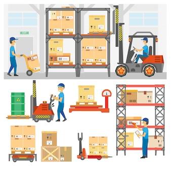 Ensemble de services de logistique et de livraison.