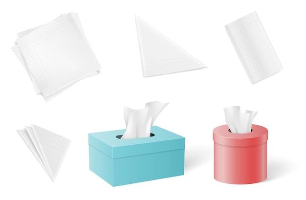 Ensemble de serviettes en papier et mouchoirs pliés sous différentes formes illustration