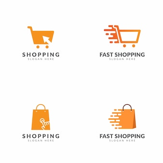 Ensemble de shopping design de vecteur de modèle de logo