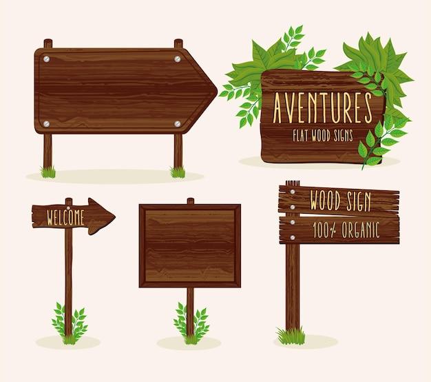 Ensemble de signaux en bois