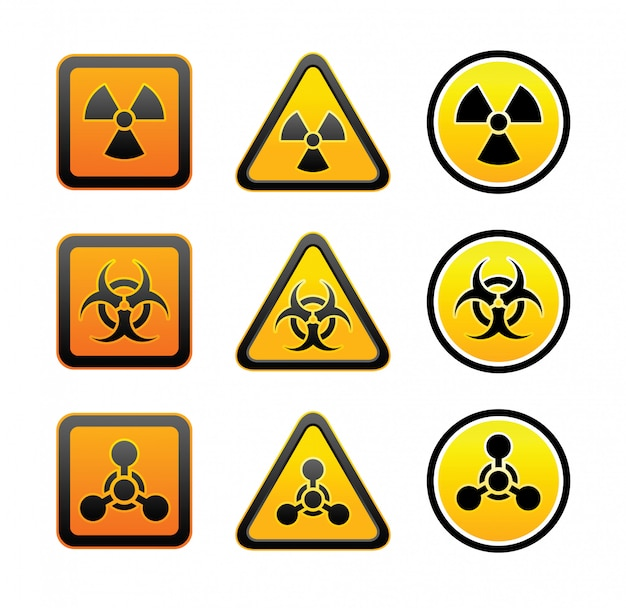 Ensemble de signaux de rayonnement d'avertissement de danger