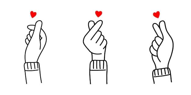 Ensemble de signe d'amour coréen dessiné à la main, coeur de doigt de corée doodle. illustration vectorielle