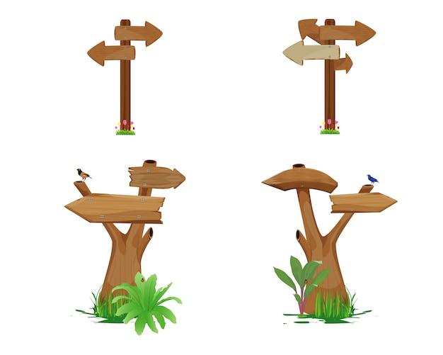 Ensemble de signe de flèche en bois isolé