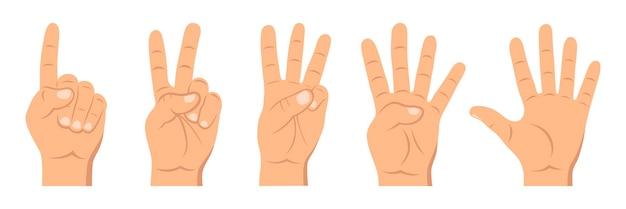 Ensemble de signe de la main de comptage de un à cinq. concept de gestes de communication.