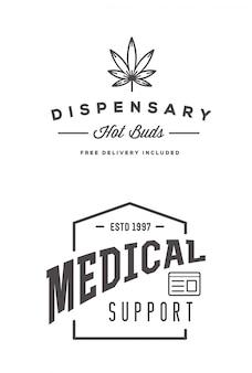 Ensemble de signe ou de modèle d'étiquette de cannabis médical marijuana dans peut être utilisé comme logotype.