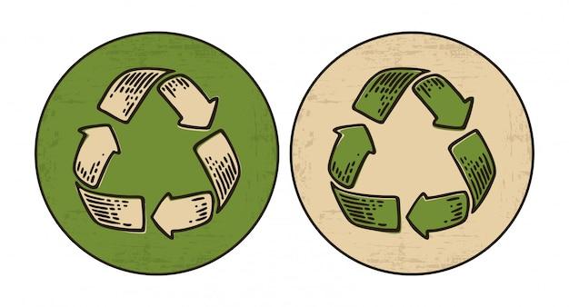 Ensemble de signe de recyclage
