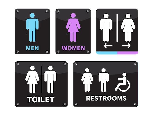 Ensemble de signe de toilette sur fond blanc
