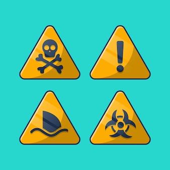 Ensemble de signes d'attention d'avertissement