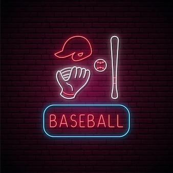 Ensemble de signes de baseball au néon