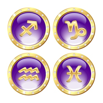 Ensemble des signes du zodiaque doré