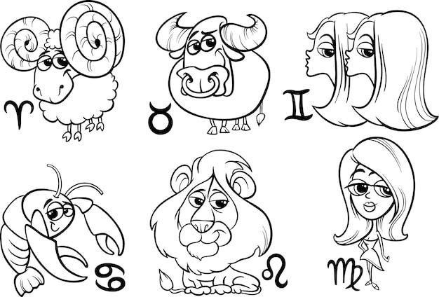 Ensemble de signes du zodiaque horoscope