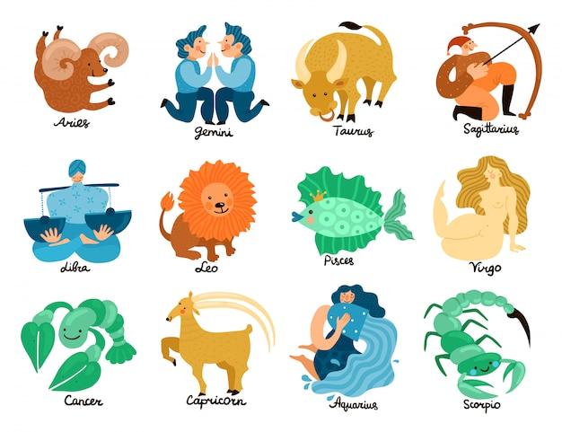 Ensemble de signes du zodiaque