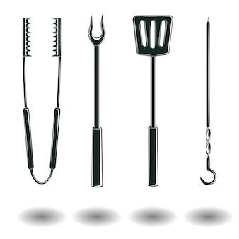 Ensemble de signes d'équipements de barbecue monochrome