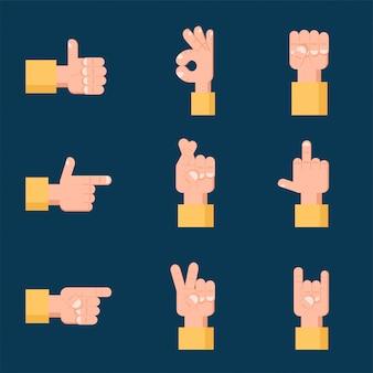 Ensemble de signes de la main