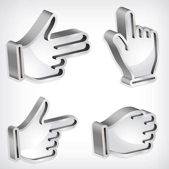 Ensemble de signes métallique main quatre vecteur